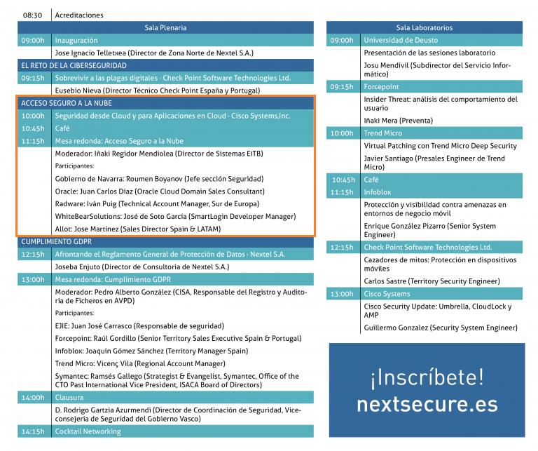 Agenda de NextSecure. Evento de Ciberseguridad.